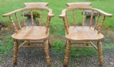 Pair Stripped Beech Captain's Armchairs